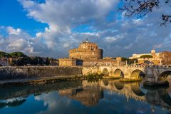 View of the Castle of St. Angel, round castle of the II century. With a collection of furniture and paintings in the Renaissance interiors, Rome, Italy royalty free stock image