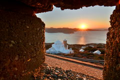 View from the castle at sunset. Plaka, Milos. Cyclades islands. Greece Royalty Free Stock Photos