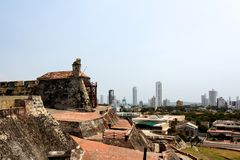 View from the Castle to the City of Cartagena Stock Images