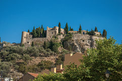 View of castle on top of a hill near the city center of Cassis. Stock Images