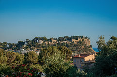 View of castle on top of a hill near the city center of Cassis. Stock Photo