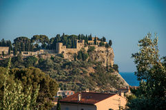 View of castle on top of a hill near the city center of Cassis. Stock Photos
