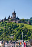 View on castle under town Cochem Royalty Free Stock Image