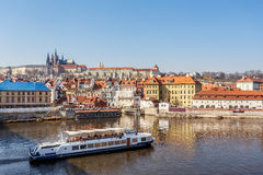 View of the castle and the Vltava River Royalty Free Stock Photo