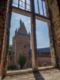 View through castle window. Peeking through the window of a castle ruin Royalty Free Stock Images