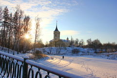 View of the castle in winter Royalty Free Stock Photo