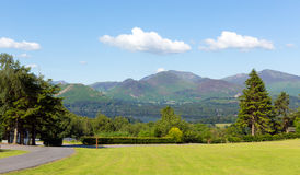 View from Castlerigg Hall Keswick Lake District Cumbria to Derwent Water and Catbells Stock Images