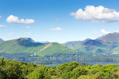 View from Castlerigg Hall Keswick Lake District Cumbria to Derwent Water and Catbells Stock Photography
