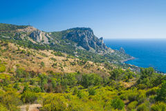 View on Cat Mountain and Blue Bay area, Black Sea shore Stock Image