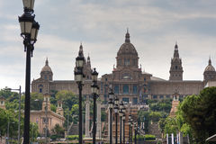 View at Catalonian national museum on Montjuic. View at Catalonian national museum MNAC on Montjuic mountain in evening in Barcelona, Spain Stock Photography
