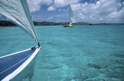 View from catamaran stock image