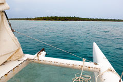 View from catamaran on the island Stock Photos