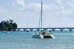 View of a catamaran and sail boats ancored at Samana Bay Stock Image