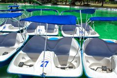 A view of the catamarans with pedals pedal boats, in the public park of La Carolina, Quito. royalty free stock images