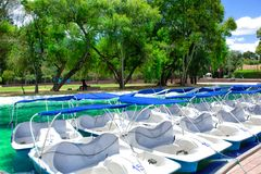 A view of the catamarans with pedals pedal boats, in the public park of La Carolina, Quito. stock images