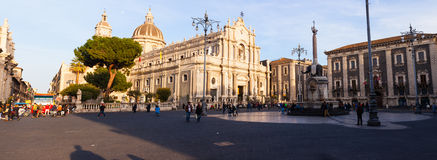 View of Catania cathedral in Sicily Royalty Free Stock Images