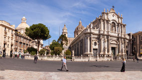 View of Catania cathedral in Sicily Stock Photo