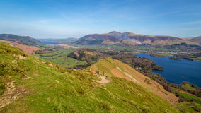 View from Catbells in the Lake District, Cumbria. View from Catbells overlooking the mountain of Skiddaw and Bassenthwaite Lake in Cumbria, England Royalty Free Stock Photography