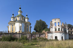 View of the Cathedral Ascension of the Lord and the ruins of the Assumption Church Spaso-Sumorin monastery in the town of Totma Stock Photos