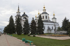 View of the Cathedral of the Assumption of the Blessed Virgin on the Cathedral Dvorishche in the summer morning in the town of Vel Stock Image