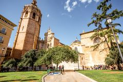 Valencia city in Spain. View on the cathedral of the assumption of Our Lady of Valencia in the old town of Valencia city, Spain Stock Images