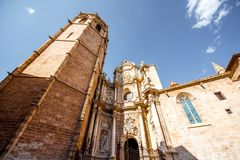 Valencia city in Spain. View on the cathedral of the assumption of Our Lady of Valencia in the old town of Valencia city, Spain Stock Image