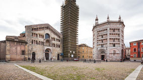 View of Cathedral and Baptistery in Parma city Stock Photo