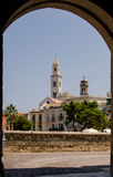 View of Cathedral in Bari through an arch Stock Photography
