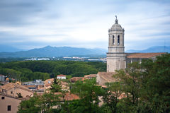 A View of the Cathedral Belltower in Girona Stock Images