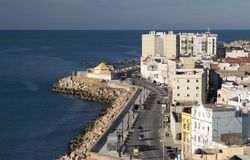 View from Cathedral in Cadiz. Over the city and ocean Stock Photography