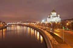 View of the Cathedral of Christ the Saviour in the evening Stock Image