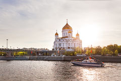 View of Cathedral of Christ the Saviour, Moscow, Russia. Royalty Free Stock Photos