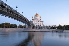 View at Cathedral of Christ the Saviour from under the Patriarch bridge stock image