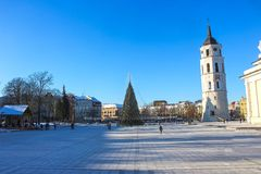 Cathedral in Cathedral square in the old town of Vilnius, Lithuania. stock image