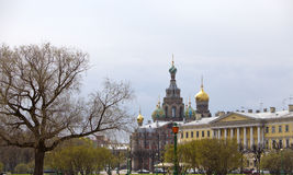 View of the cathedral The Church of the Savior on spilled blood from  Field of Mars.  (St. Petersburg, Russia) Stock Photos