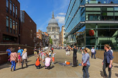 View of the Cathedral Church of St Paul the Apostle from Peter's Hill Stree. London, UK. Royalty Free Stock Images