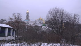 View of the Cathedral of the Dormition and The Great Lavra Bell Tower stock video footage