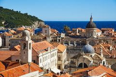 View on Cathedral of Dubrovnik. View on the cathedral of Dubrovnik from the city walls royalty free stock photography