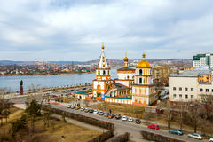 View of the Cathedral of the Epiphany. The city of Irkutsk, Russia Royalty Free Stock Image