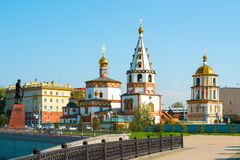 View of the Cathedral of the Epiphany in Irkutsk. View of the Cathedral of the Epiphany and the monument to the founders of Irkutsk Stock Photo