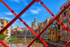 View of the cathedral in Gerona, Catalonia. View from the bridge at the cathedral in Girona, Catalonia, Spain Stock Image