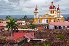 View of Cathedral Granada, Nicaragua. Panoramic view of Cathedral Granada in Nicaragua with cloudy sky Royalty Free Stock Image