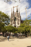 View of the Cathedral of the Holy Family (Sagrada Familia) in Barcelona, Spain. View of Sagrada Familia by Catalan architect Antoni Gaudi. Barcelona, Spain Stock Photo