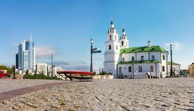 View on Cathedral of the Holy Spirit - main Orthodox church of Minsk, Belarus. Cathedral of the Holy Spirit Landmark royalty free stock image