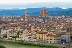View of the cathedral of La Cattedrale di Santa Maria del Fiore in the evening twilight. Florence, Italy. View of the cathedral of La Cattedrale di Santa Maria Royalty Free Stock Photography