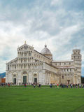 View of cathedral and The Leaning Tower of Pisa, Italy,A Cloudy. Days Royalty Free Stock Images