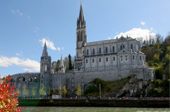 View of the cathedral in Lourdes, France Stock Photo