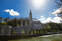 View of the cathedral in Lourdes, France Royalty Free Stock Photo