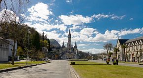 View of the cathedral in Lourdes, France Stock Photography