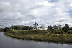 View of the Cathedral of the Nativity of the Virgin,  bell tower and St. Nicholas church in the Suzdal Kremlin. Suzdal, Golden Rin Stock Photography